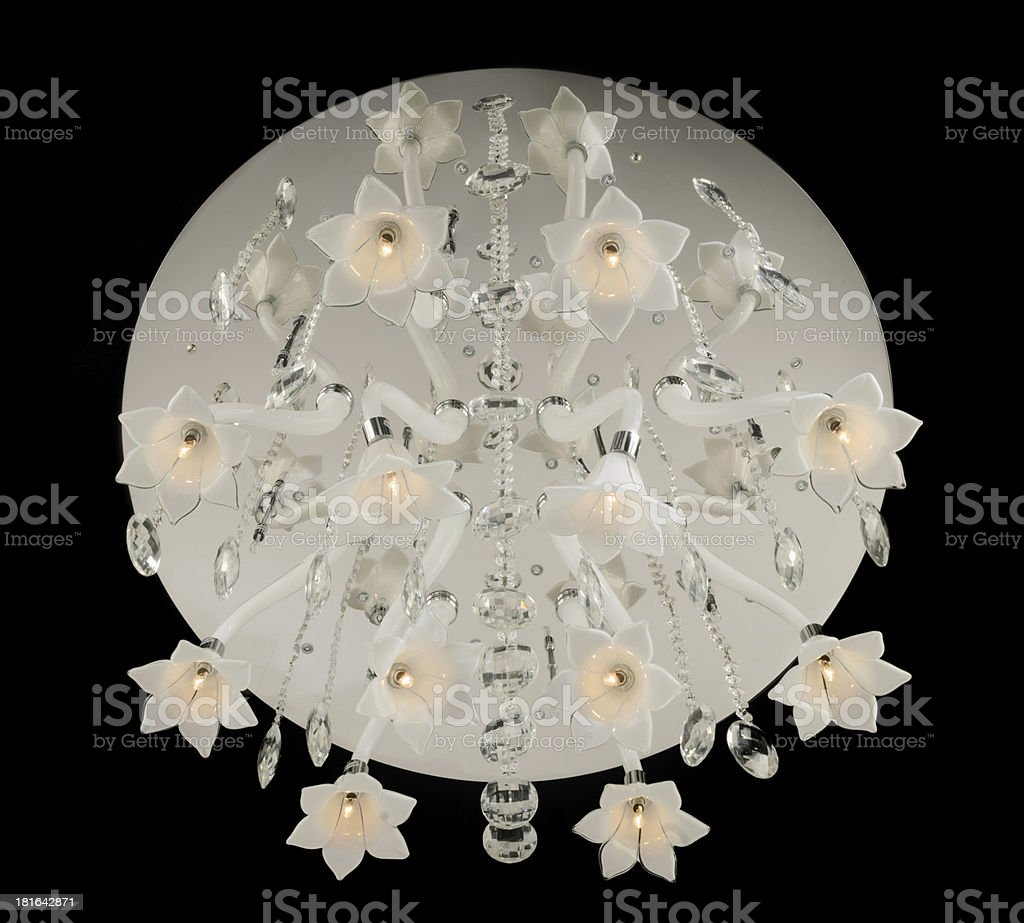 Contemporary glass chandelier isolated on black royalty-free stock photo