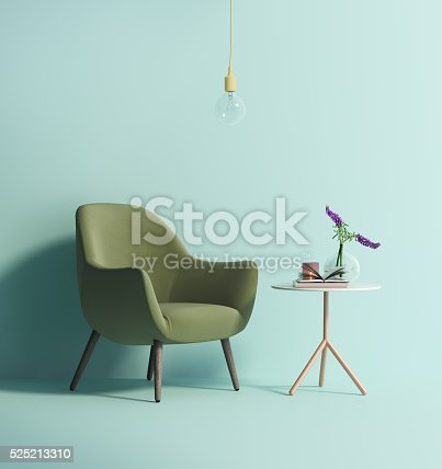 Rendering of a Contemporary green armchair on mint wall