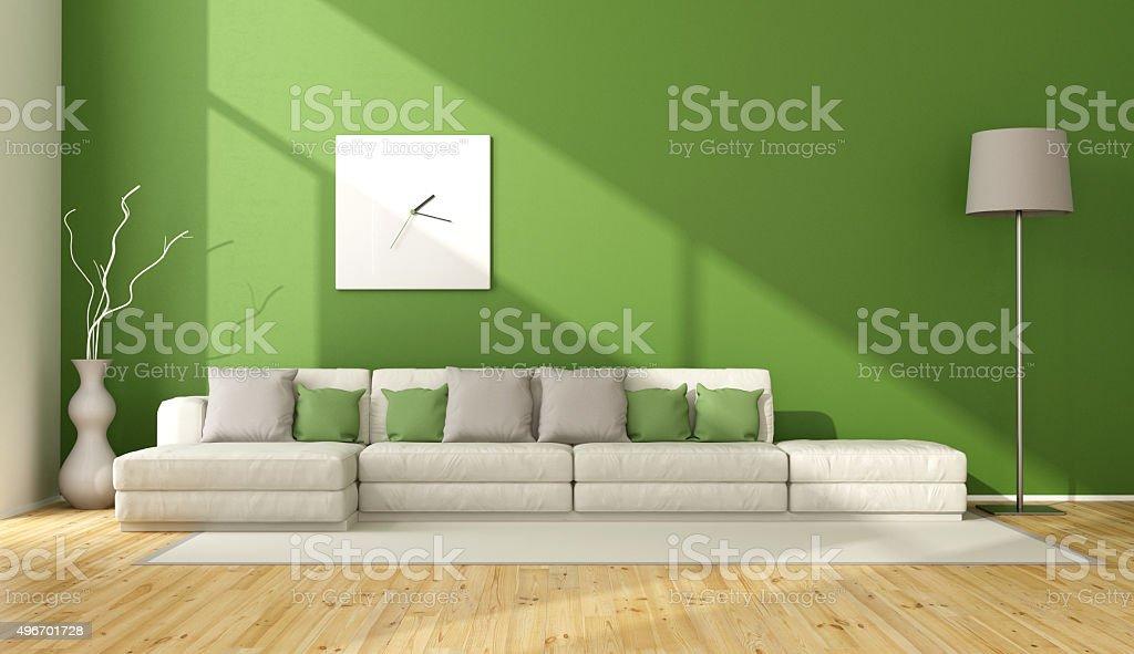 Contemporary green living room stock photo