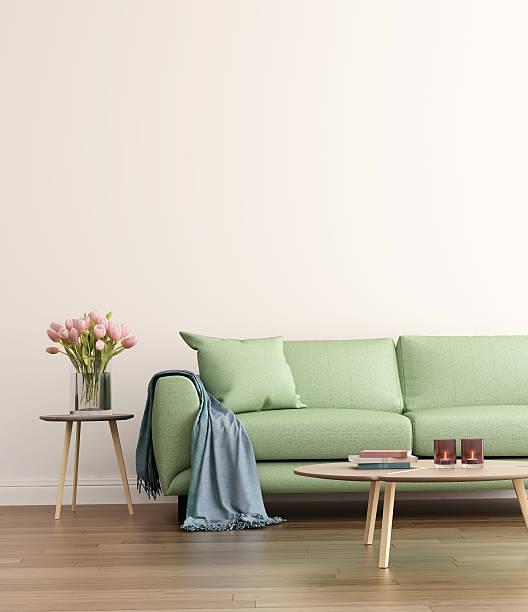 modernen grünen wohnzimmer - kissen grün stock-fotos und bilder