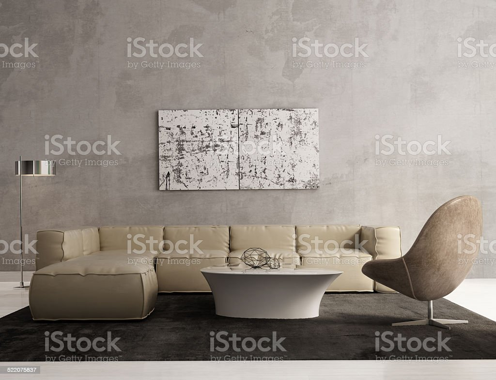 Contemporary grey living room interior stock photo