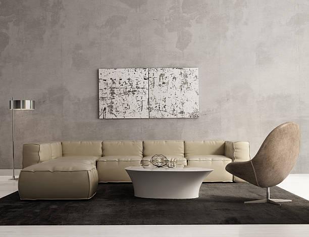 Contemporary grey living room interior stock photo
