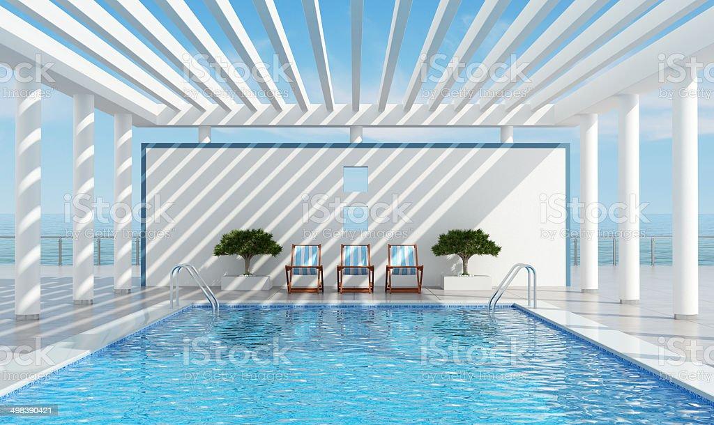 Contemporary holiday villa with pool stock photo
