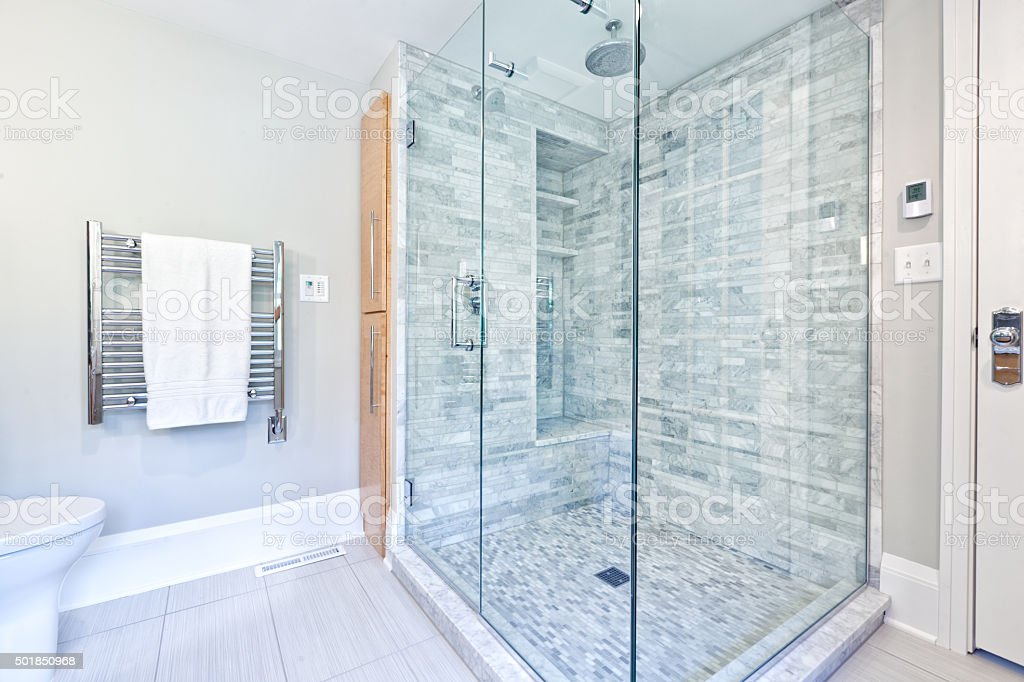 Contemporary Home Bathroom Glass Shower Stall With Marble Tiles ...