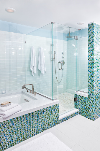 Contemporary Home Bathroom With Shower Stall Tub And Glass ...