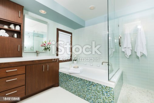 istock Contemporary Home Bathroom with Shower Stall, Tub and Vanity 184915848