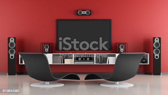 istock Contemporary home cinema 610844362
