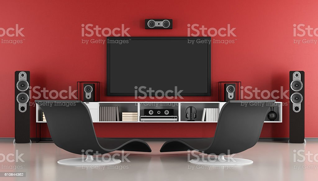 Contemporary home cinema stock photo