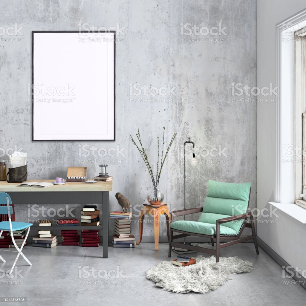 Contemporary Home Office Interior Background Poster