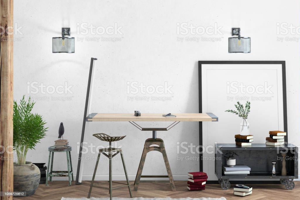 Intérieur De Bureau à La Maison Contemporaine Avec Modèle De Fond De Table  En Bois Photo