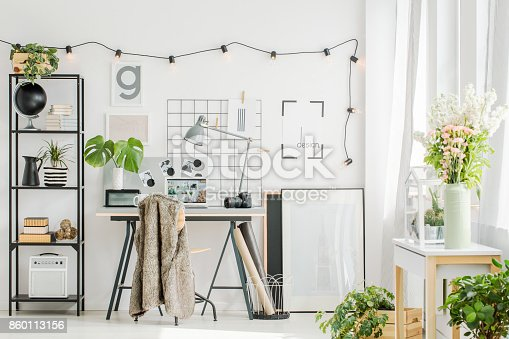 istock Contemporary home office with flowers 860113156