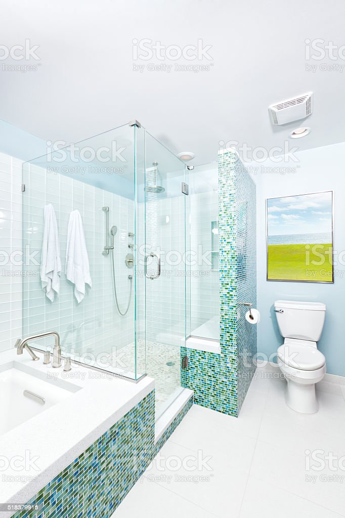 Contemporary Home Residential Bathroom Design stock photo