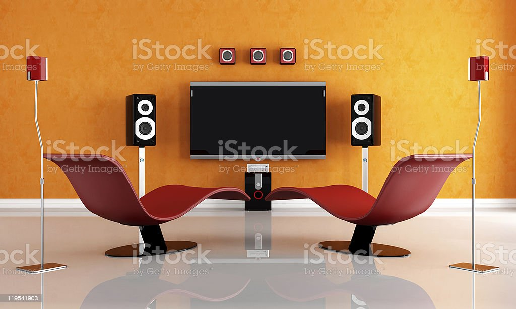 contemporary home theater  Apartment Stock Photo
