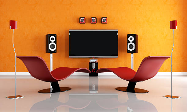 contemporary home theater  man cave stock pictures, royalty-free photos & images
