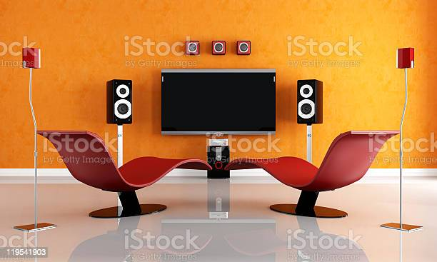 Contemporary Home Theater Stock Photo - Download Image Now