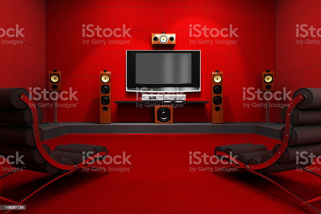 Contemporary Home Theater A contemporary home theater room. Furnished with modern furniture and electronics. Digitally created and high resolution rendered. Apartment Stock Photo