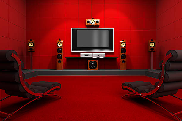 Contemporary Home Theater A contemporary home theater room. Furnished with modern furniture and electronics. Digitally created and high resolution rendered. man cave stock pictures, royalty-free photos & images