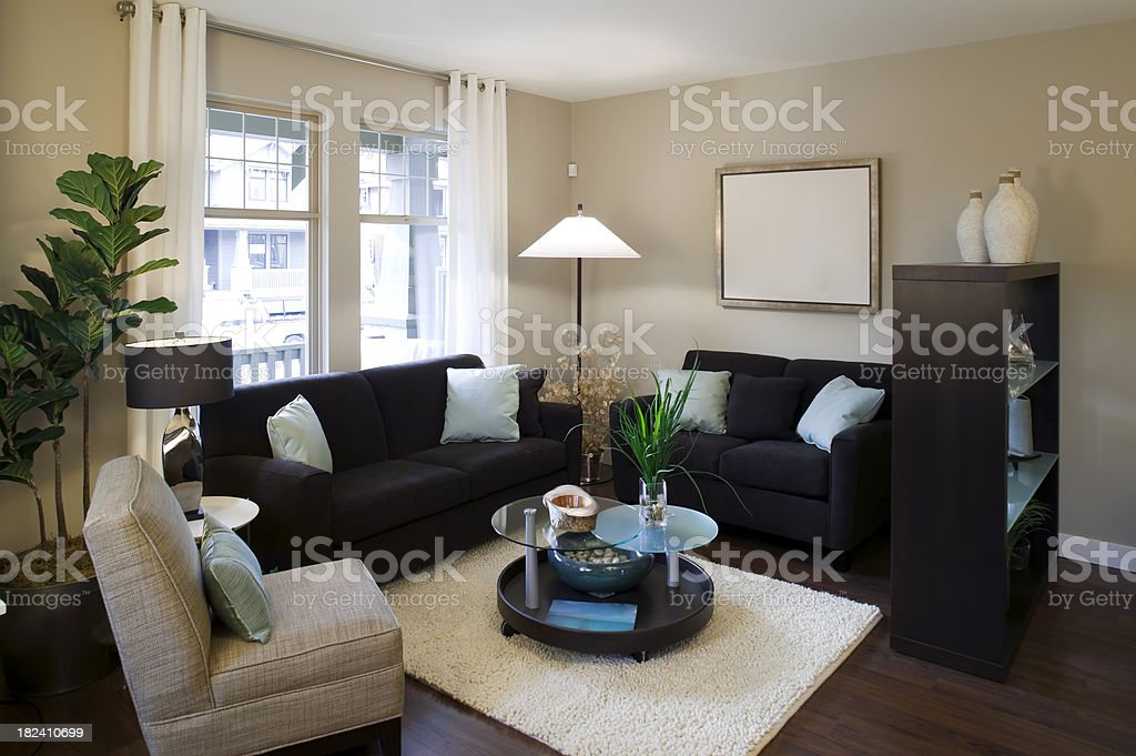 contemporary house living room stock photo