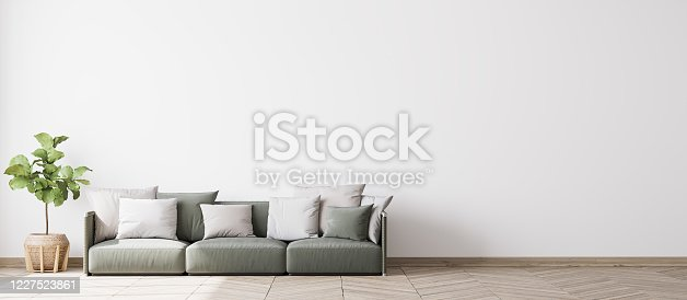 1095381860 istock photo Contemporary interior design for 3 poster frames mock up in living room. Panorama. Stock photo 1227523861