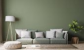 istock Contemporary interior design for interior mock up in living room. Scandinavian home decor. Stock photo 1227523866