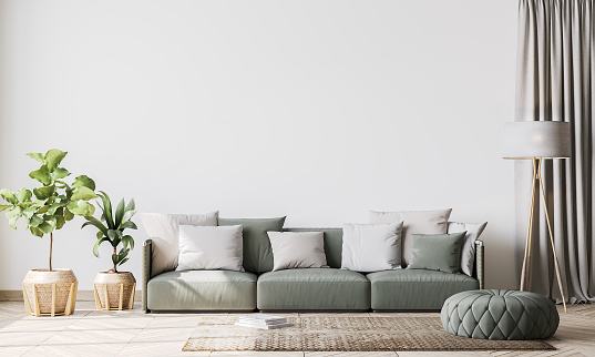 Contemporary interior design for interior mock up in living room.  Scandinavian home decor with green couch, rattan pot and floor lamp, template, 3d render
