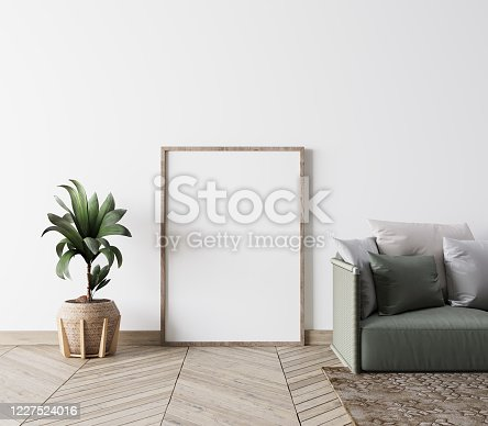 1095381860 istock photo Contemporary interior design for poster frame mock up in living room. Vertical poster mock up. Stock photo 1227524016