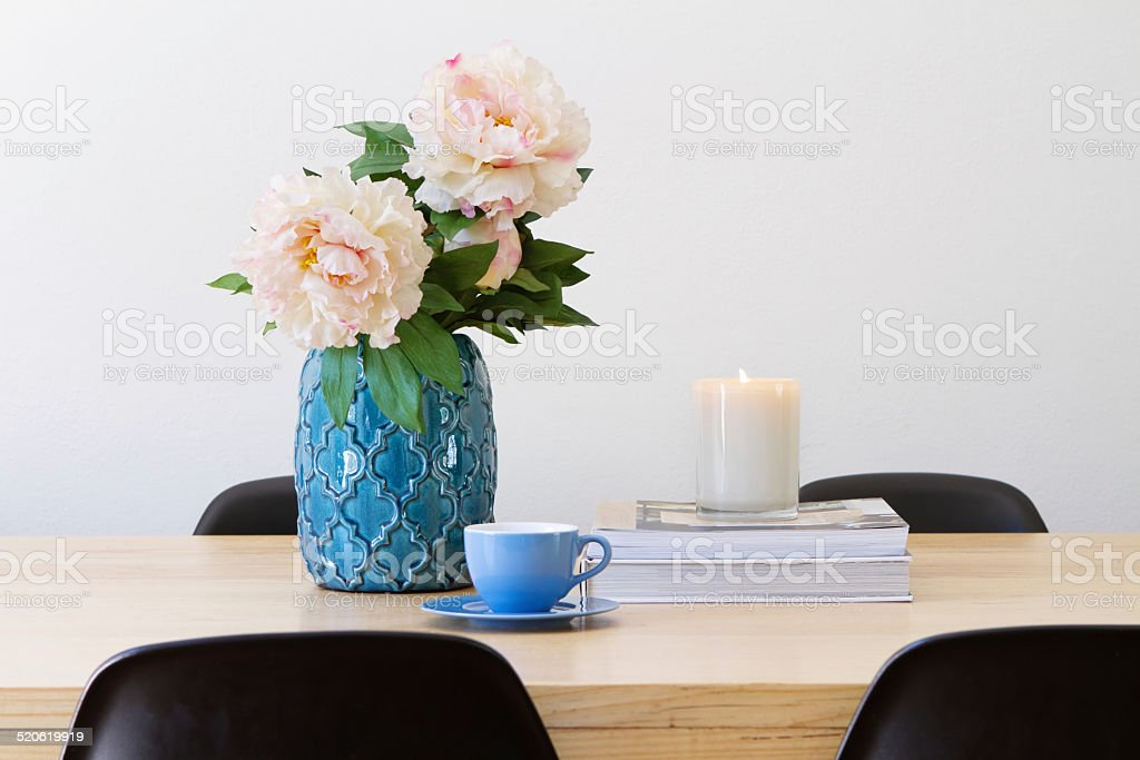 Contemporary interior dining table horizontal stock photo