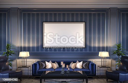 istock Contemporary interior in blue tones with a sofa and striped wallpaper. 3d rendering 1066894260