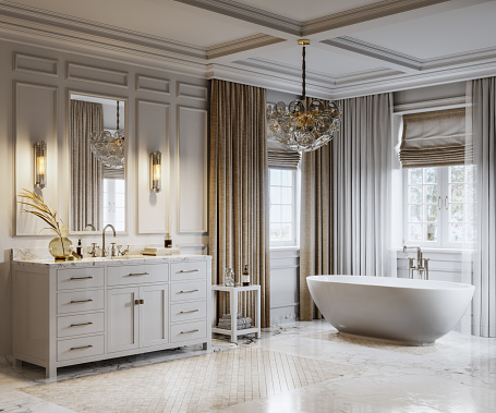 Bathtub and furniture in a bathroom of a luxurious seaside house