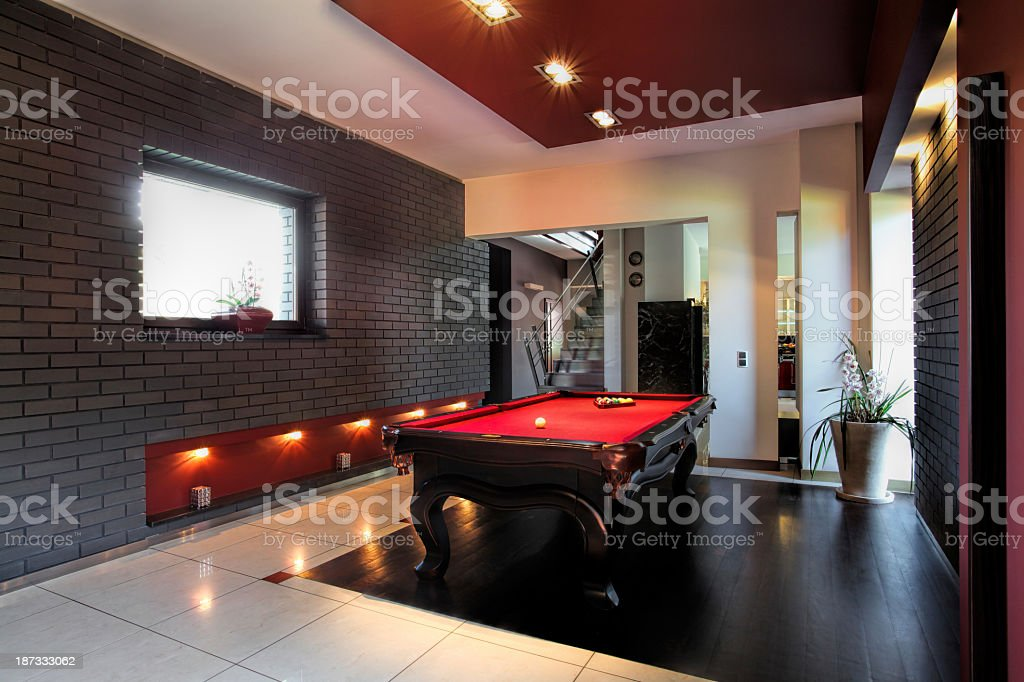 Contemporary interior with a snooker table stock photo
