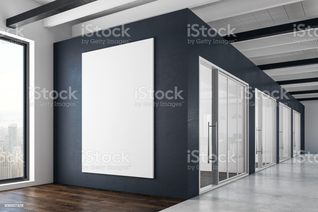 Contemporary interior with empty poster stock photo