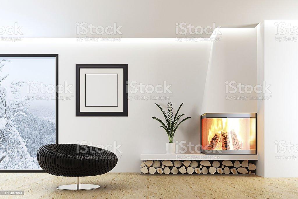 Modernes Interieur mit Kamin – Foto