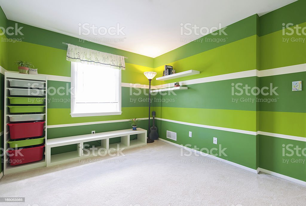 Contemporary Kids Bedroom In American Home Stock Photo ...
