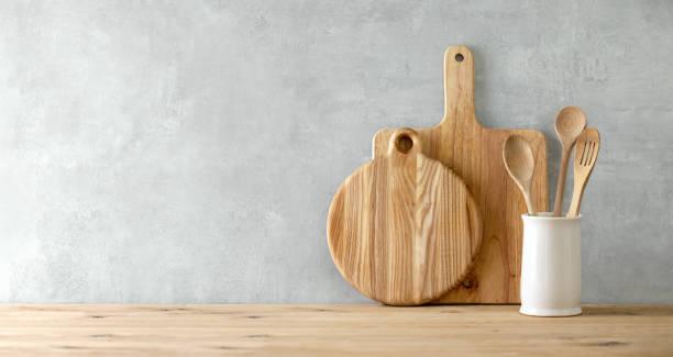 contemporary kitchen background with blank space for a text - przybór kuchenny zdjęcia i obrazy z banku zdjęć
