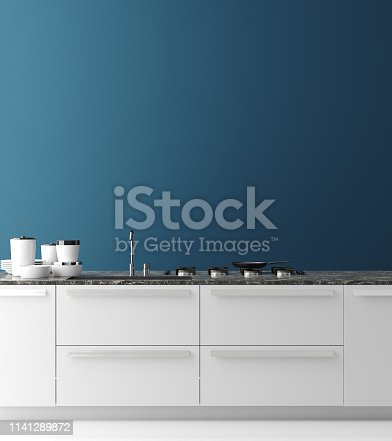 istock Contemporary kitchen interior, wall mock up, modern style 1141289872