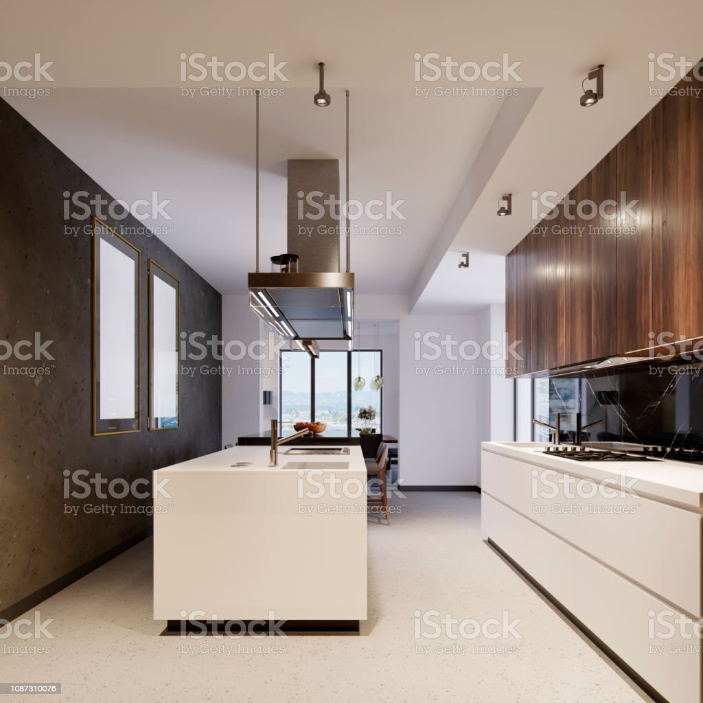 Contemporary Kitchen Interior With Brown And White Furniture