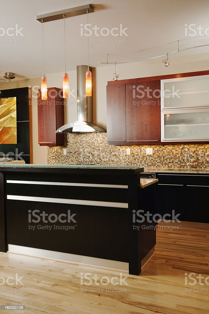 Contemporary Kitchen Interior with Island Counter Vt royalty-free stock photo