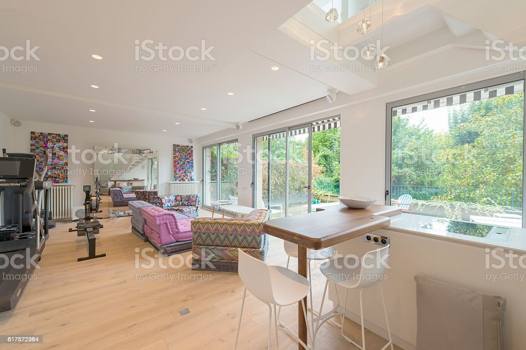 Contemporary kitchen living room. Loft. Studio apartment. stock photo