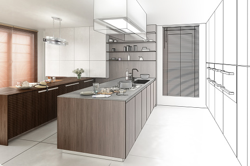 Contemporary Kitchen (project) - 3d visualization