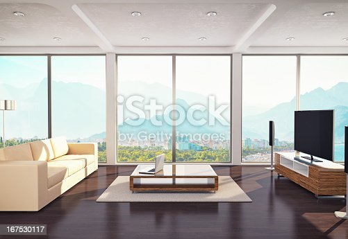 Contemporary living room interior with mountain and sea view.