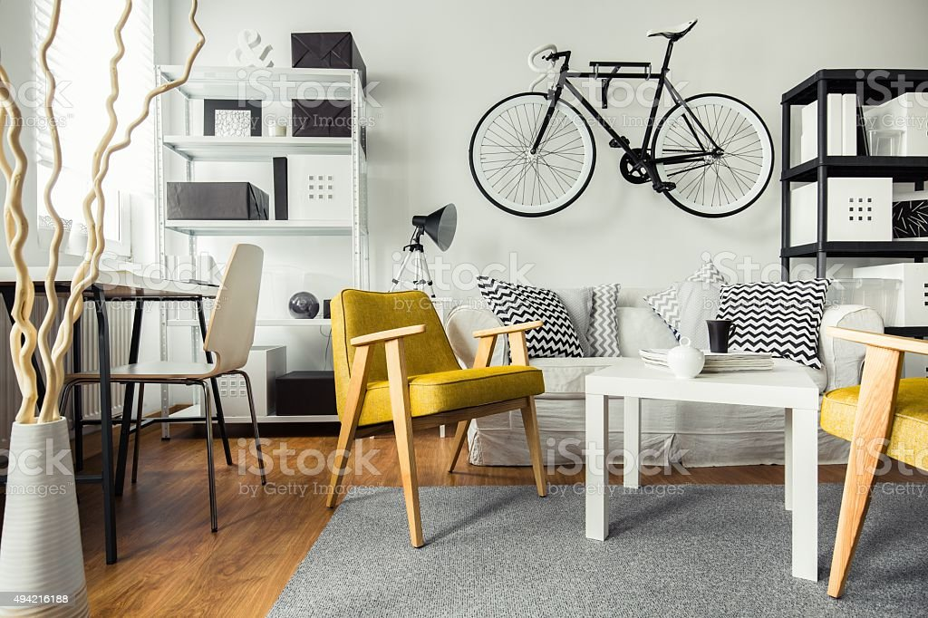 Contemporary living room for hipster stock photo