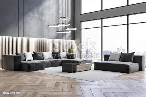 istock Contemporary living room interior with window and city view, beautiful couch, pillows, rug and other items. Design concept. 3D Rendering. 1347759953