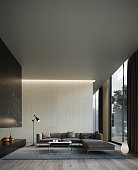 Shot of modern contemporary living room. Vertical image.