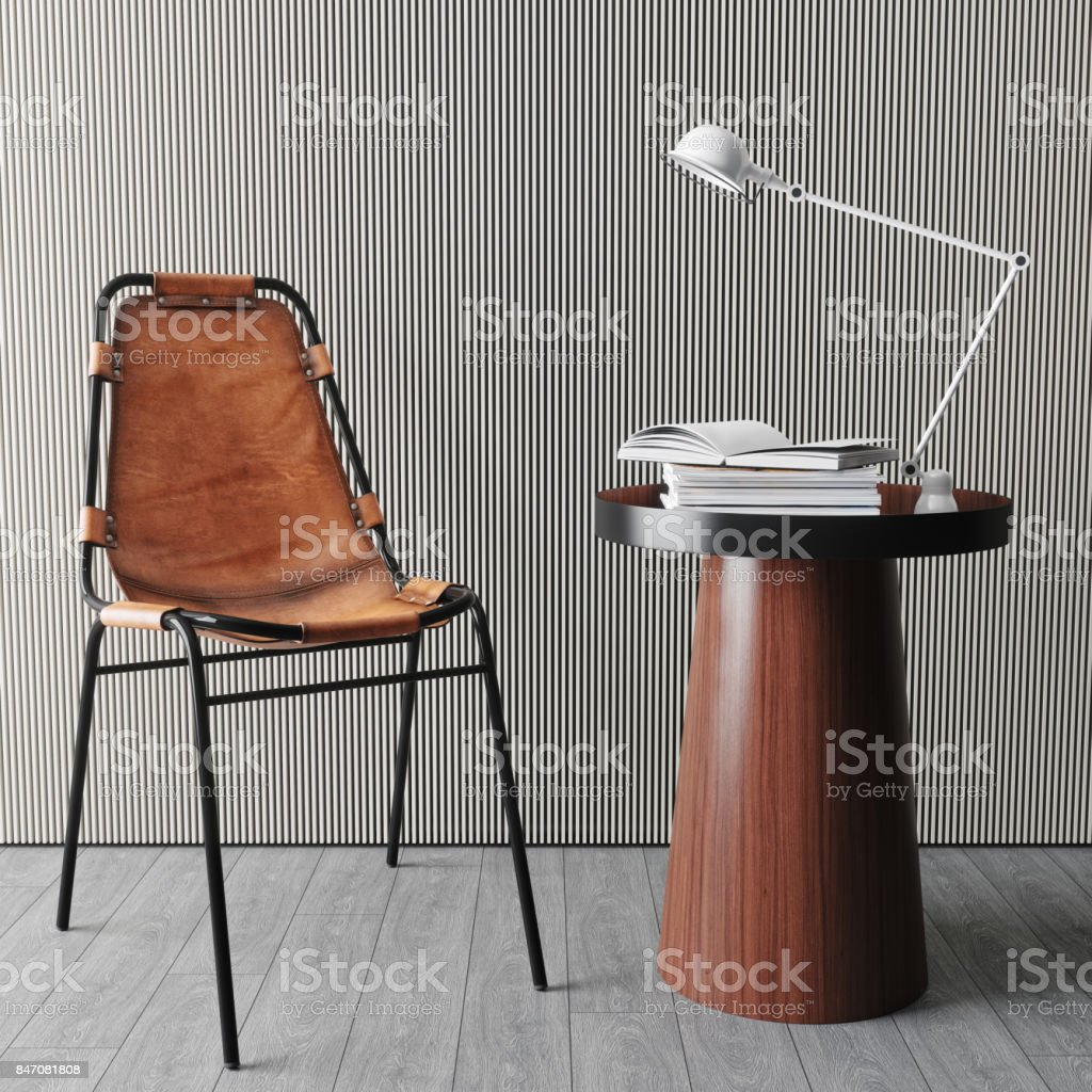 Contemporary Living Room With Chair And Side Table stock photo
