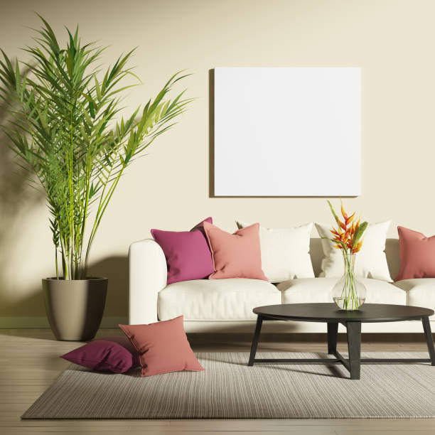 Contemporary living room with mock up poster and red accents stock photo