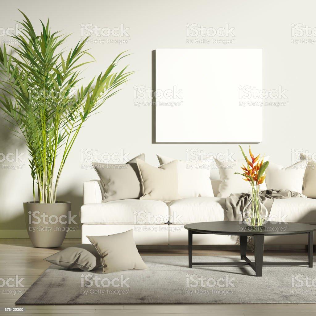 Zeitgenössische Wohnzimmer Mit Mockup Poster - Stockfoto | iStock