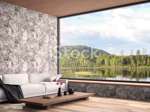 1066863894 istock photo Contemporary living room with nature view 3d render 1201758009