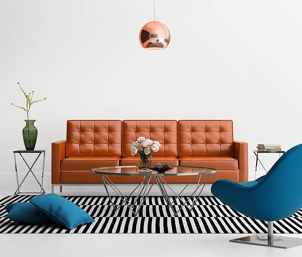 moderne wohnzimmer mit orangefarbenem leder-sofa - blumenstreifen stock-fotos und bilder