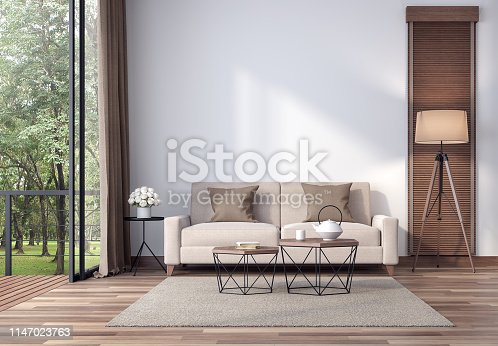 1066863894 istock photo Contemporary living room with tropical garden view 3d render 1147023763