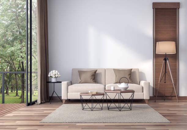 Zeitgenössisches Wohnzimmer mit tropischem Garten mit Blick auf den 3d-Render – Foto